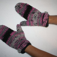 Womens Hot Pink and Black Winter Mittens MICHIGAN MADE