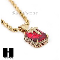 "STAINLESS STEEL RUBY ANGEL CZ PENDANT 24"" ROPE CHAIN NECKLACE NP020"