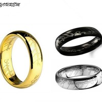 Stainless steel lord jewelry for women ring men size 6MM width good quality gold color unisex rings drop ship fj229 YOUREM