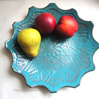 Shallow Turquoise Fruit Bowl, Multifunctional Pottery Trinket Dish, Crochet Impressed Ceramic Plate