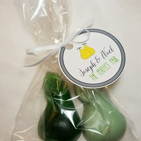 Bridal Shower Favors - Perfect Pear Engagement or Wedding Party Favors custom made with bags, tags & ribbons - Pack of 10