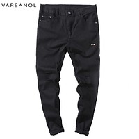 Men's Hole Pants White Ripped Casual Pants With Holes Skinny Fit Destroyed Distressed Joggers Cotton Trousers For Male