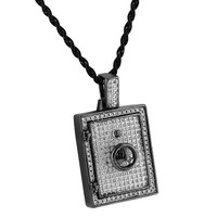 Jewelry Safe Pendant Safety Vault Iced Out Lab Diamonds Black Finish Solid Back Necklace 24""