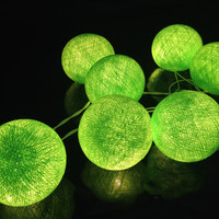 35 Bulbs Handmade Ultra Green Cotton ball string lights for Patio,Wedding,Party and Decoration