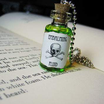 Embalming Fluid Glass Bottle Necklace - Steampunk Goth Halloween Potion Charm