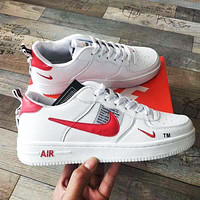AIR FORCE 1 NIKE Trending Women Men High tops Low tops Classic Sneakers Sports Shoes White+red hook