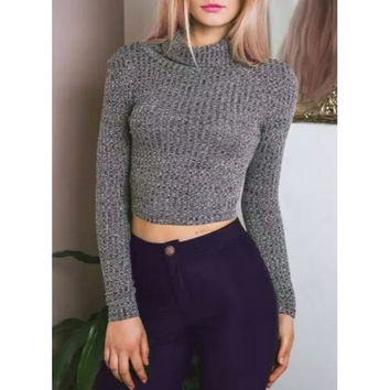 Fashion long sleeves high collar knitting sweater