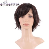 S-noilite Silky Straight Cosplay Party Hair Wigs Dark Brown Synthetic Full Head Short Wig for Women