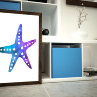 Starfish Holographic Foil - Sea - Nautical Art - 11x14 or 12x16 (A3) Wall Art - A3 Foil Print