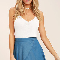 Hit the Mark Blue Chambray Wrap Mini Skirt