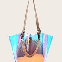 Iridescent Tote Bag With Inner Pouch