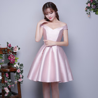 Sexy V-neck Prom Dresses with Bow 2017 New Plus Size Customized Cheap Mini Party Prom Dress Satin Short Elegant Formal Gown