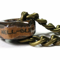 Well-Built, Industrial Chic Mens Hex Nut Necklace, Steampunk Antiqued Brass, Metal Jewelry, Rugged, Masculine, Gifts for Athletes, For Him