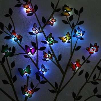 6 PCS Mixed Color Artificial 3D Butterfly LED Light Wall Stickers Home Decoration