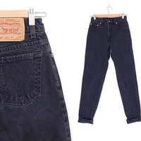 """Sz 2 / 3 L 90s Black Levi's 550 High Waisted Mom Jeans - Vintage Women's Relaxed Fit Tapered Leg Long Tall Jeans - 26"""" Waist"""