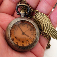 Brown magnifying glass pocket watch,Antique brass pocket watch necklace, Holiday,Party,bridesmaid necklace, thanksgiving, gift idea