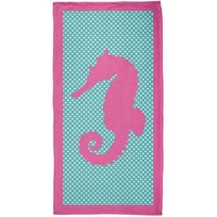 CREYCY8 Pink Seahorse Polka Dot All Over Plush Beach Towel