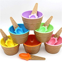 Colorful Ice Cream Bowls with spoon