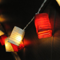 handmade 10 feet long white and red cube oriental lantern string light cubic paper spring party bedroom night light patio bohemian style
