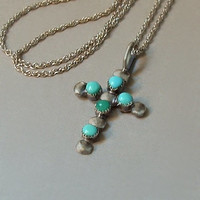 Vintage STERLING Silver NATIVE American TURQUOISE Cross Necklace Petit Point Snake Eye Sterling Chain c.1970s