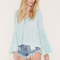 Lace-Paneled Crepe Top | Forever 21 - 2000186358
