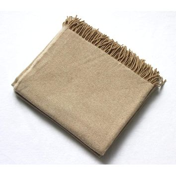 Harlow Henry Cashmere Collection Throw Sand With Camel Reverse