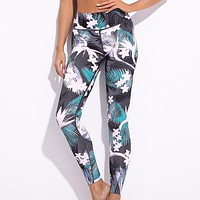 New fashion leaf floral print yoga fitness sports leisure pants women