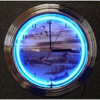 Neonetics Dolphins at Sea Neon Clock - dolphins-at-sea-neon-clock - Clocks - Decorative Accents - Decor