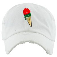 ICE CREAM CONE White Dad Hat - Jordan 4 Pizzeria