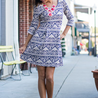 All Or Nothing Dress, Navy/Cream