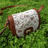 Cute White Lace Brown Cross Body Purse Small Bag