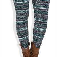 Plus Size Legging with Mint and Coral Tribal Print