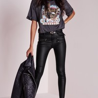 Missguided - Zip Detail Coated Skinny Trousers Black
