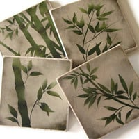 Green Grass Bamboo Art Set of 4 Natural Stone Tile Coasters, Nature Decor, Earthy Natural Colors
