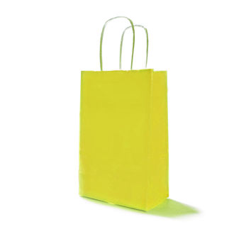 Yellow Paper Party Bags with Handles and Damask Gift Tags