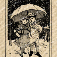 Boy and Girl Children With Umbrella in Falling Snow Winter Fun Image Transfer Printable Instant Download