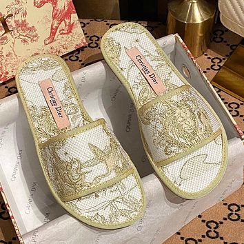 DIOR canvas embroidered pattern flat casual slippers sandals Shoes Yellow
