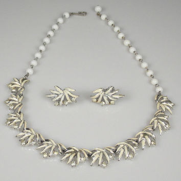 Vintage Coro White Enamel Rhinestone Necklace Earrings Set