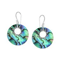 AE-1050-AB Sterling Silver Earring With Round Shape Abalone Shell