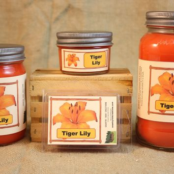 Tiger Lily Candles and Wax Melts, Flower Scent Candle Wax, Highly Scented Candles and Wax Tarts, Gift for Her, Gift for Mom