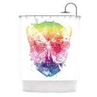 """Frederic Levy-Hadida """"Butterfly Skull"""" Shower Curtain, 69"""" x 70"""" - Outlet Item"""