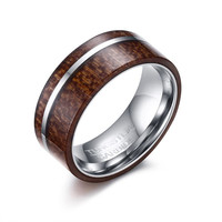 Fashion Wood Inlay Mens Tungsten Wedding Bands Rings with Mirror Polished Tungsten Stripe 8mm Promise Ring Men Jewelry anel New