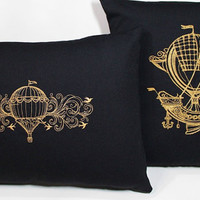 Steampunk Embroidered Set of 2 Pillow Case Covers