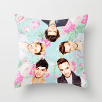 One Direction Flowers Throw Pillow by Dan Ron Eli