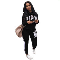 pink two pieces suits top and pants Women Letter Print Tracksuit 2018 Spring Plus Size Casual nightclub party Sweatsuits XXXL