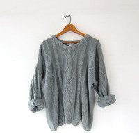 vintage sage green sweater. oversized sweater. loose knit sweater. boxy sweater. cable knit pullover