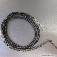 Black Viking Knit Necklace With Silver Bead Core