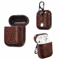INSPIRED DESIGNER EMBOSS AIRPODS CASE - BROWN