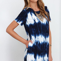 Seawall Ivory and Navy Blue Print Shift Dress