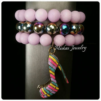 12mm Matte Beaded Bracelet Set/Stack with Hematite Spacers and a High Heel Shoe Charm Miska's Jewelry